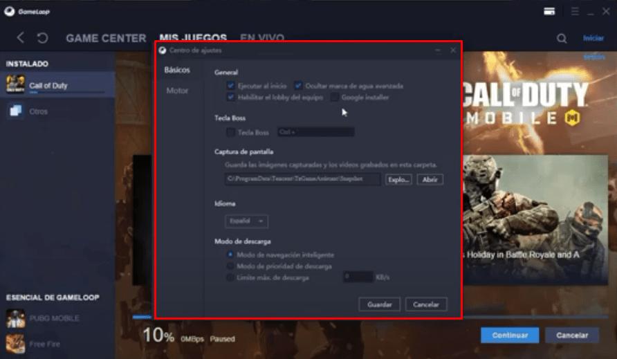Cómo Configurar emulador tencent gameloop
